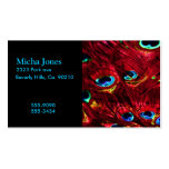 Red Electro Peacock Feathers Business Cards
