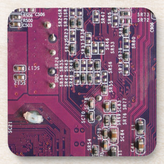 Red Electronic Circuit Board Drink Coaster