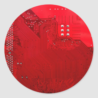 red electronic circuit board.JPG Classic Round Sticker