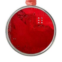 red electronic circuit board.JPG Metal Ornament