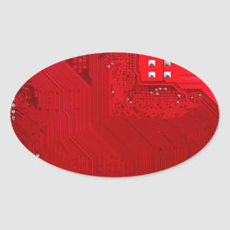 red electronic circuit board.JPG Oval Sticker