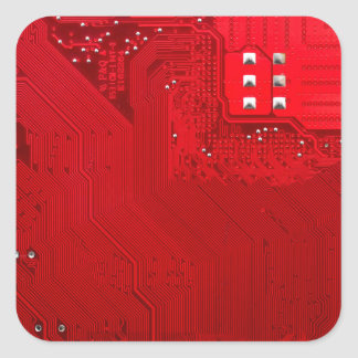 red electronic circuit board.JPG Square Sticker