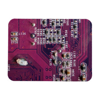 Red Electronic Circuit Board Rectangle Magnets