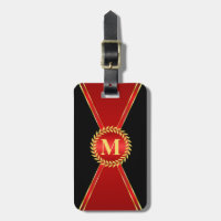 Red Elegance Monogram Luggage Tag