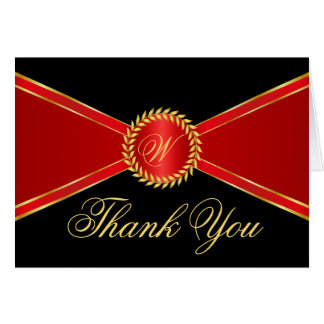 Red Elegance Monogram Thank You Card