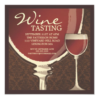 Red Elegance Wine Glass Wine Tasting Party Card