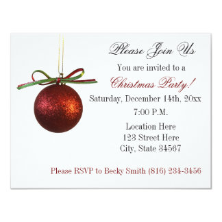 Red Elegant Christmas Ornament Christmas Party Card