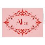 Red Elegant Flourish Frame Greeting Card
