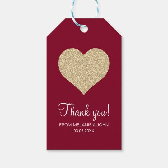 Wedding Thank You Gift Tags: Red Elegant Gold Glitter Heart Wedding Thank You Gift Tags