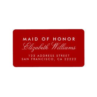 Red Elegant Maid of Honor Return Address Labels