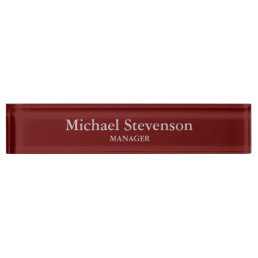 Red Elegant Modern Desk Nameplate