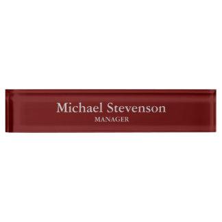 Red Elegant Modern Desk Nameplate