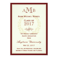 Red Elegant Monogram Graduation Announcement