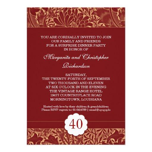 red elegant retro wedding anniversary invitations (back side)