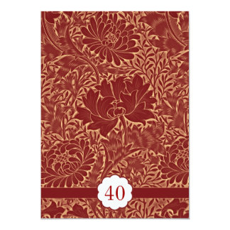 red elegant retro wedding anniversary invitations