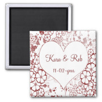 red elegant Save the date magnet