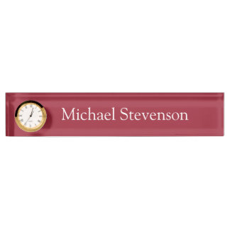 Red Elegant Stylish Business Nameplate with Clock