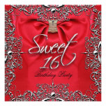 Red Elegant Sweet Sixteen Sweet 16 Party Personalized Invite