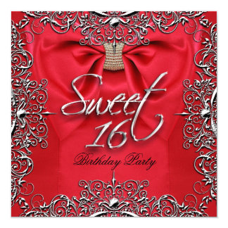 Red Elegant Sweet Sixteen Sweet 16 Party Invitation