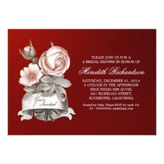 red elegant vintage bridal shower invitation