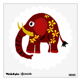 Red Elephant and Daisies Art Wall Decal