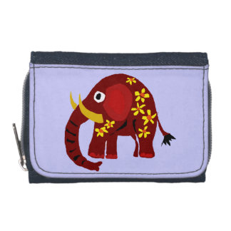 Red Elephant and Daisies Wallet