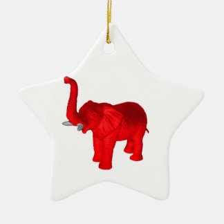 Red Elephant Ceramic Ornament