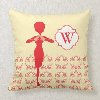 Red Elephant Diva Love Throw Pillow