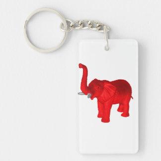 Red Elephant Double-Sided Rectangular Acrylic Keychain
