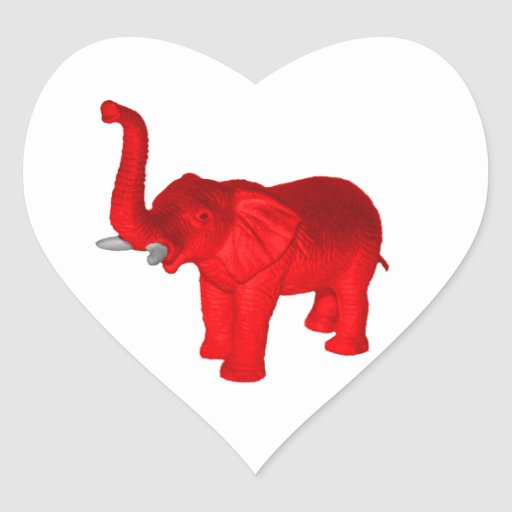 Red elephant heart sticker zazzle for Elephant heart trunk