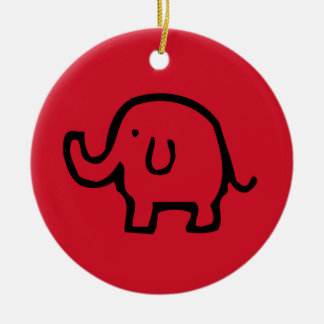 Red Elephant Image Ornament