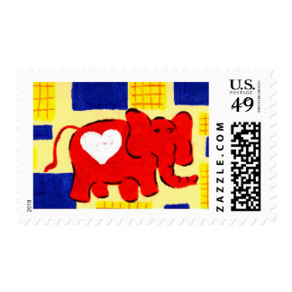 Red Elephant Love Postage Stamps