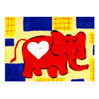 Red Elephant Love Postcards