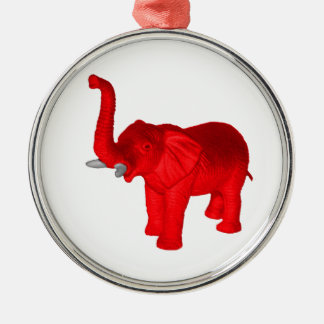 Red Elephant Metal Ornament