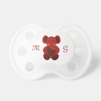 Red Elephant & Monogram - Pacifier Pacifiers