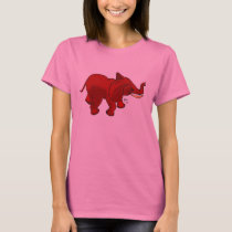 Red Elephant on Ladies Shirt