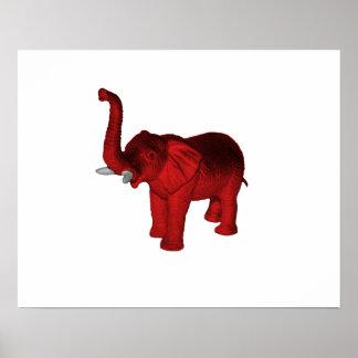 Red Elephant Print