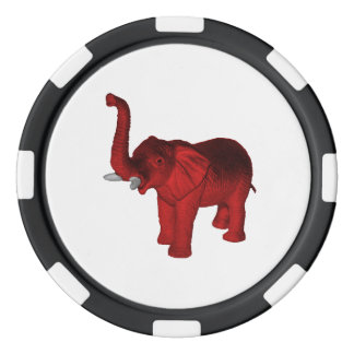 Red Elephant Set Of Poker Chips