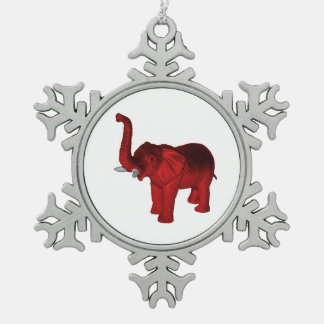 Red Elephant Snowflake Pewter Christmas Ornament