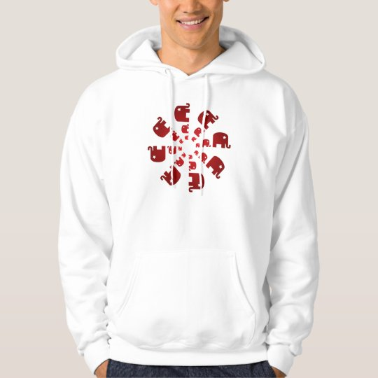 Red Elephants Marching Hoodie