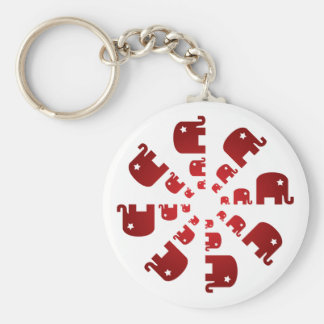 Red Elephants Marching Keychain