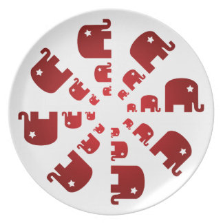 Red Elephants Marching Plate