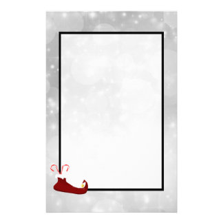 Red Elf Shoe on Silver Bokeh Background Stationery