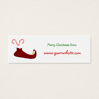 Red Elf Slipper with Candy Canes Mini Business Card
