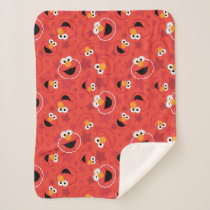 Red Elmo Faces Pattern Sherpa Blanket