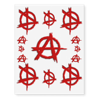 Red Emboss-look Anarchy Logo, Show you dont care! Temporary Tattoos