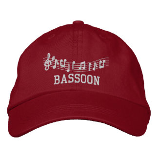Red Embroidered Bassoon Music Hat