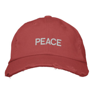 Red embroidered Distressed Peace Hat