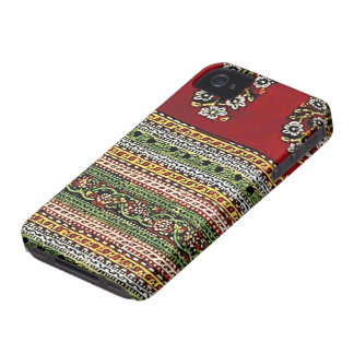 Red Embroidered Flowers Vintage Style iPhone 4 Cover