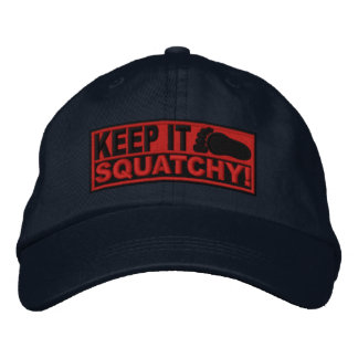 Red EMBROIDERED Keep It Squatchy - Bobo s Embroidered Baseball Cap